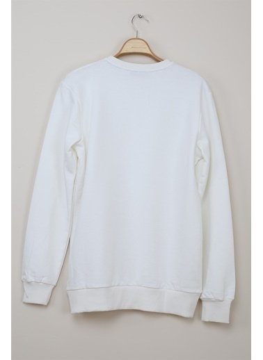 Z Giyim Yuvarlak Yaka Pamuklu Basic Sweatshirt Beyaz